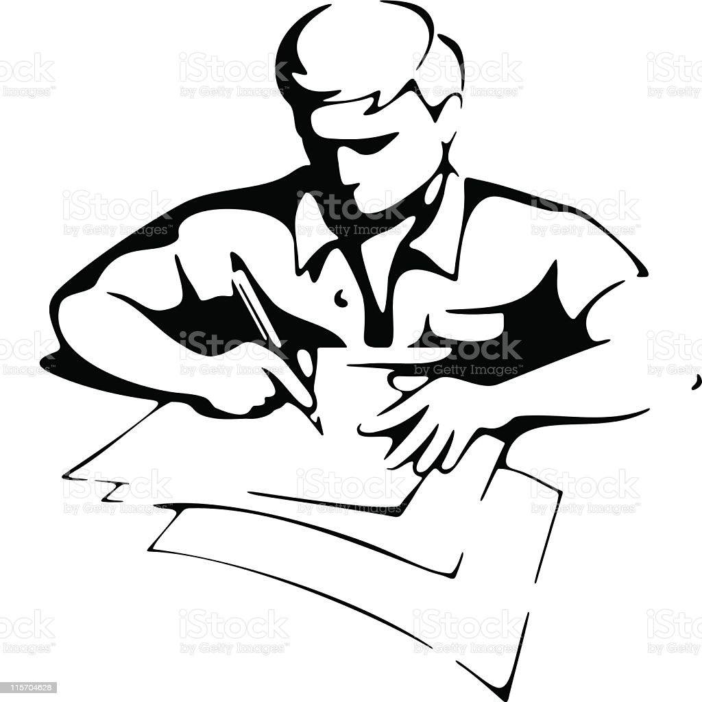 WRITING MAN royalty-free stock vector art