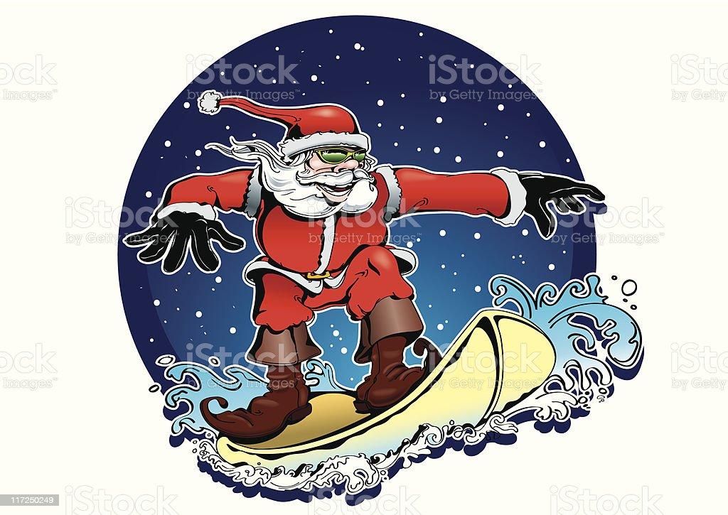 SURF SANTA CLAUS royalty-free stock vector art