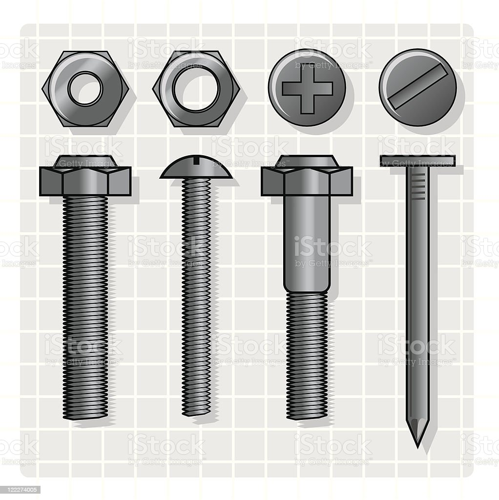 NUTS AND BOLTS royalty-free stock vector art