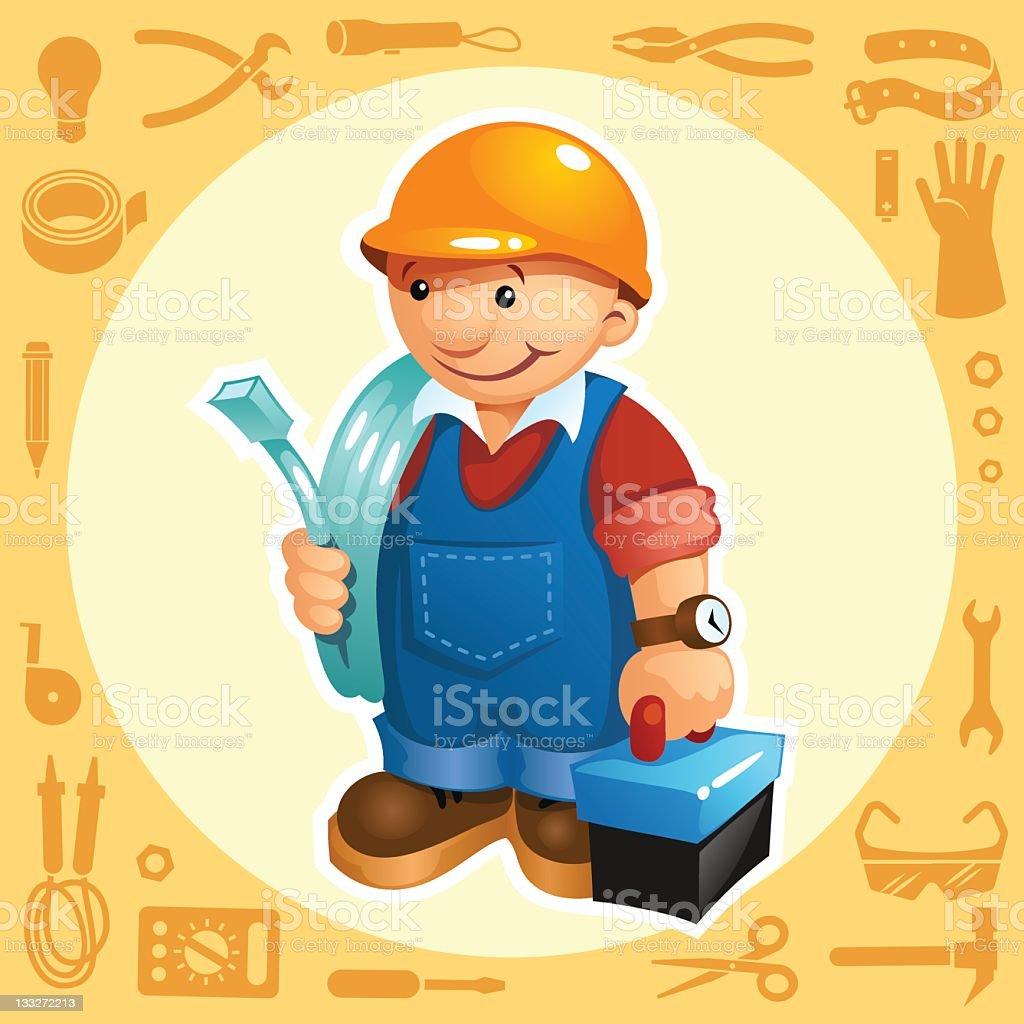CONSTRUCTION ELECTRICIAN royalty-free stock vector art