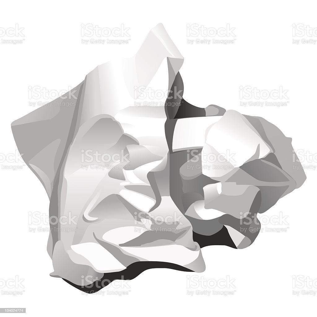 CRUMPLED PAPER (white) royalty-free stock vector art