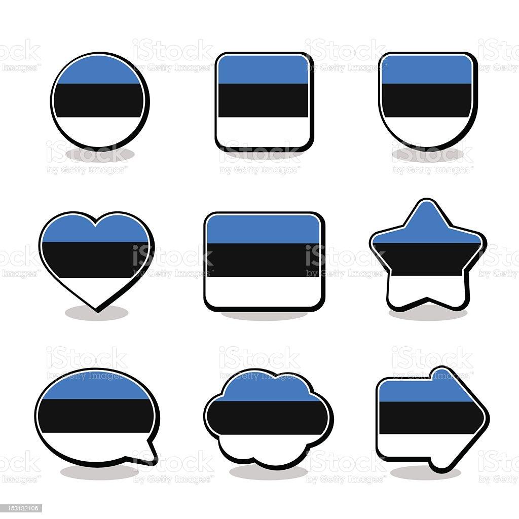 ESTONIA FLAG ICON SET royalty-free stock vector art
