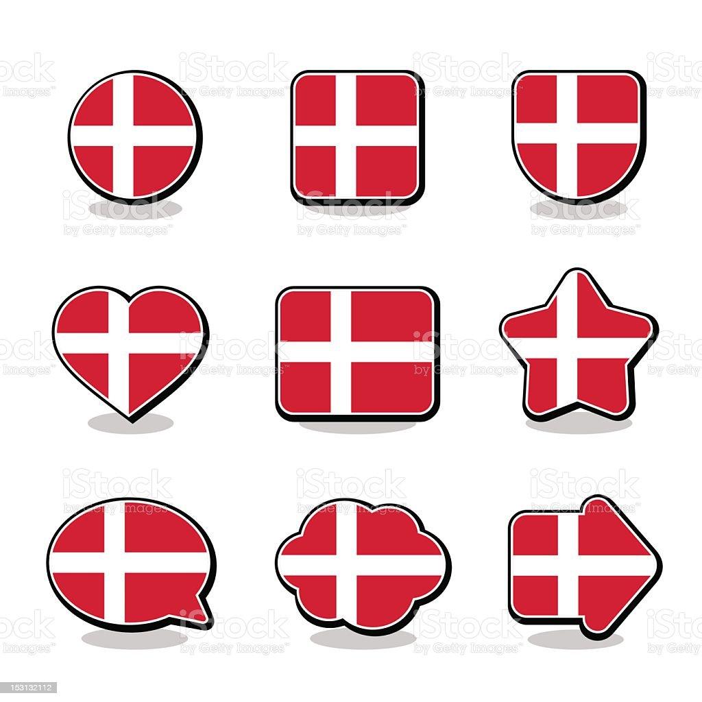 DENMARK FLAG ICON SET royalty-free stock vector art