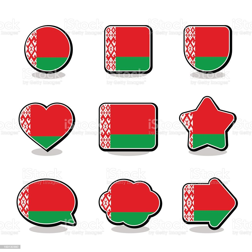 BELARUS FLAG ICON SET royalty-free stock vector art