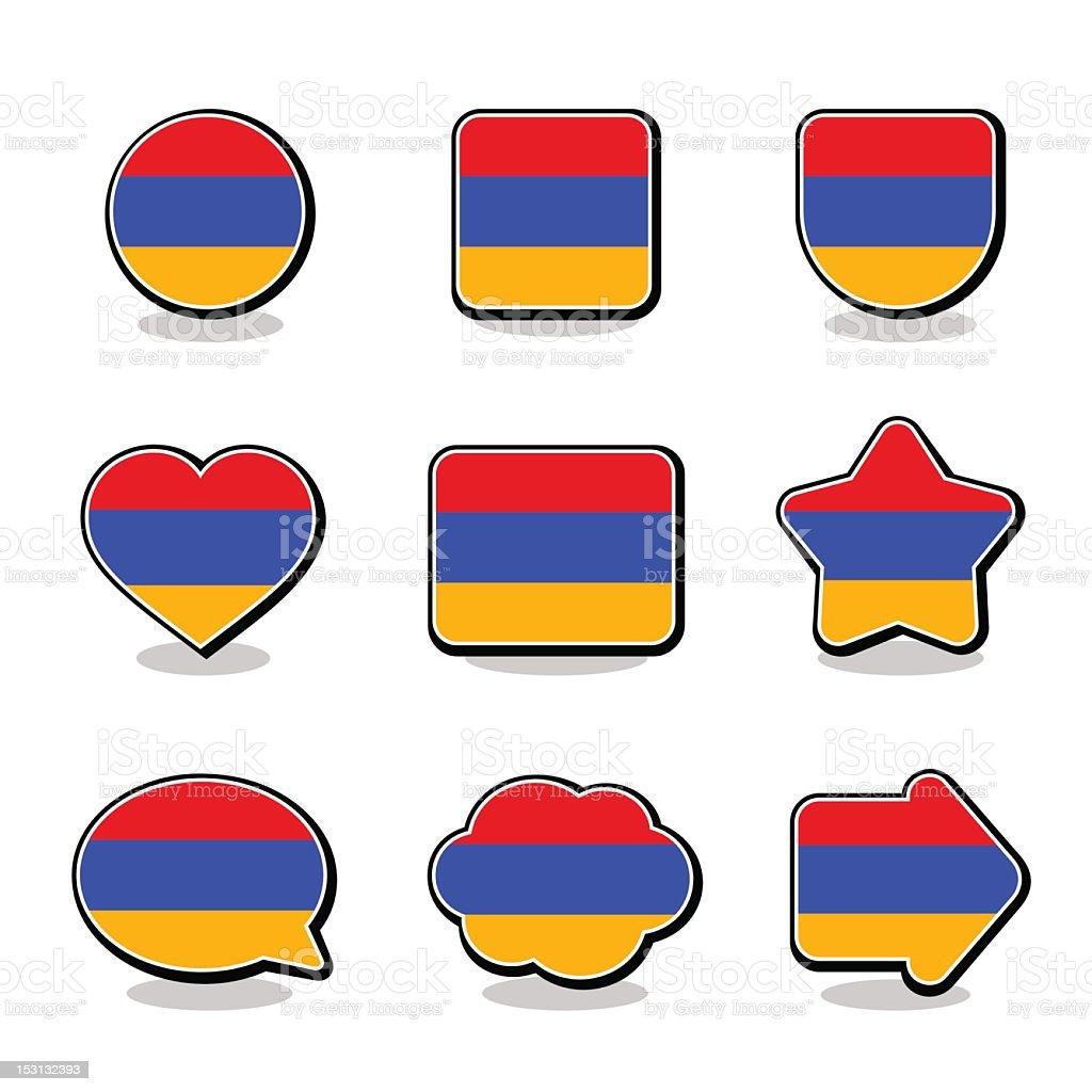 ARMENIA FLAG ICON SET royalty-free stock vector art