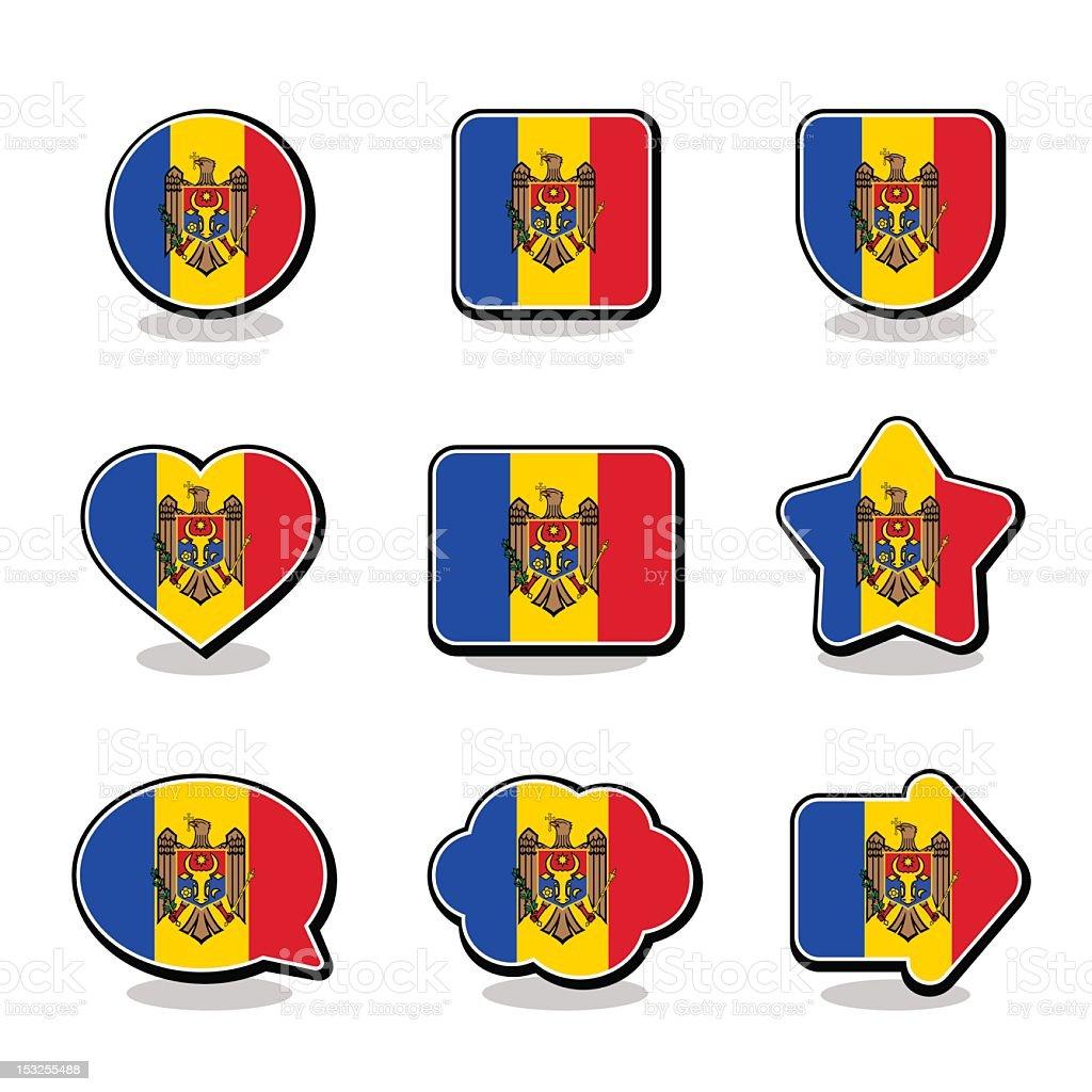MOLDOVA FLAG ICON SET royalty-free stock vector art