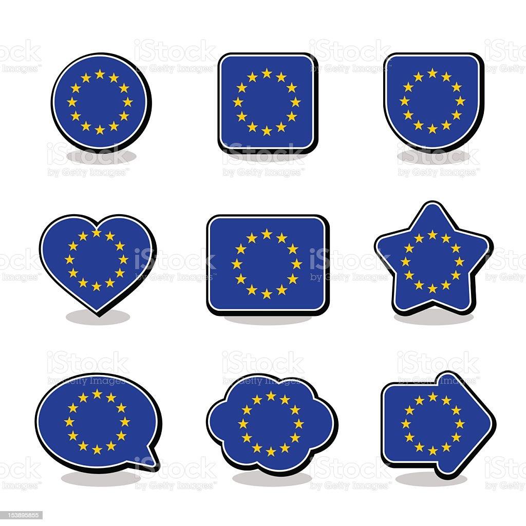 EUROPEAN UNION FLAG ICON SET royalty-free stock vector art