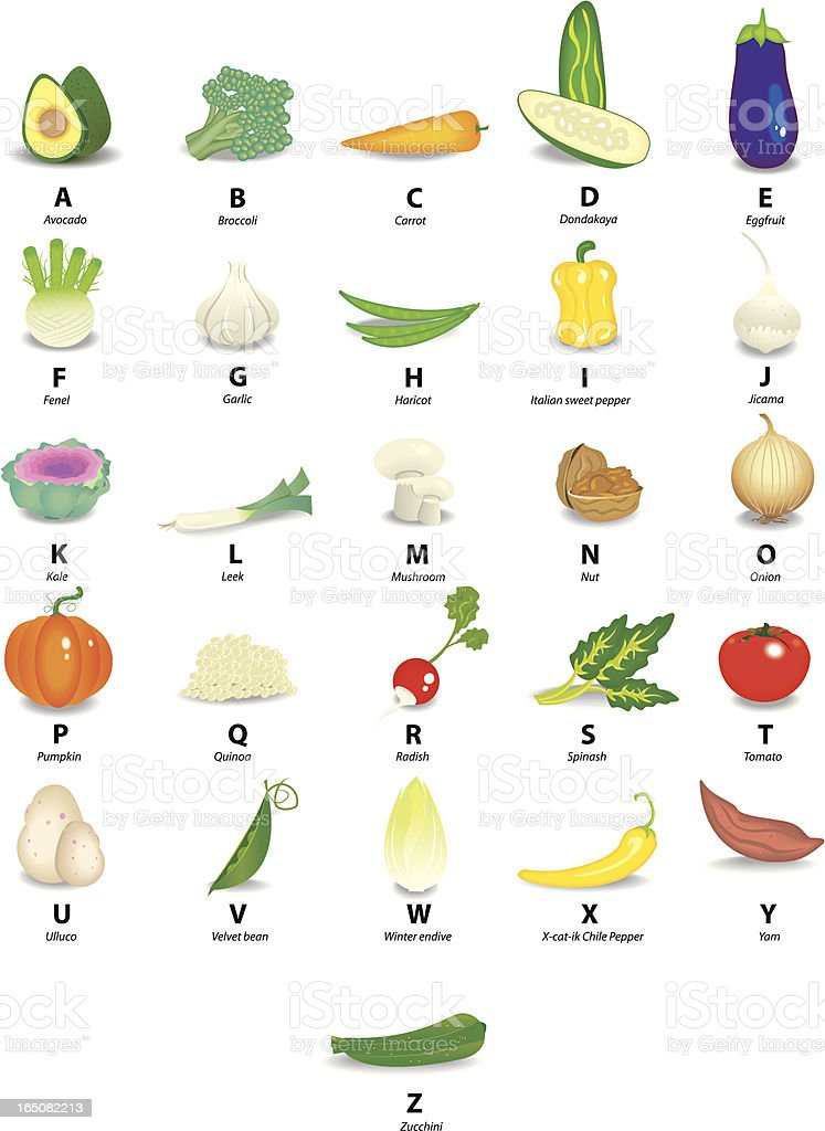 VEGETABLES ALPHABET vector art illustration