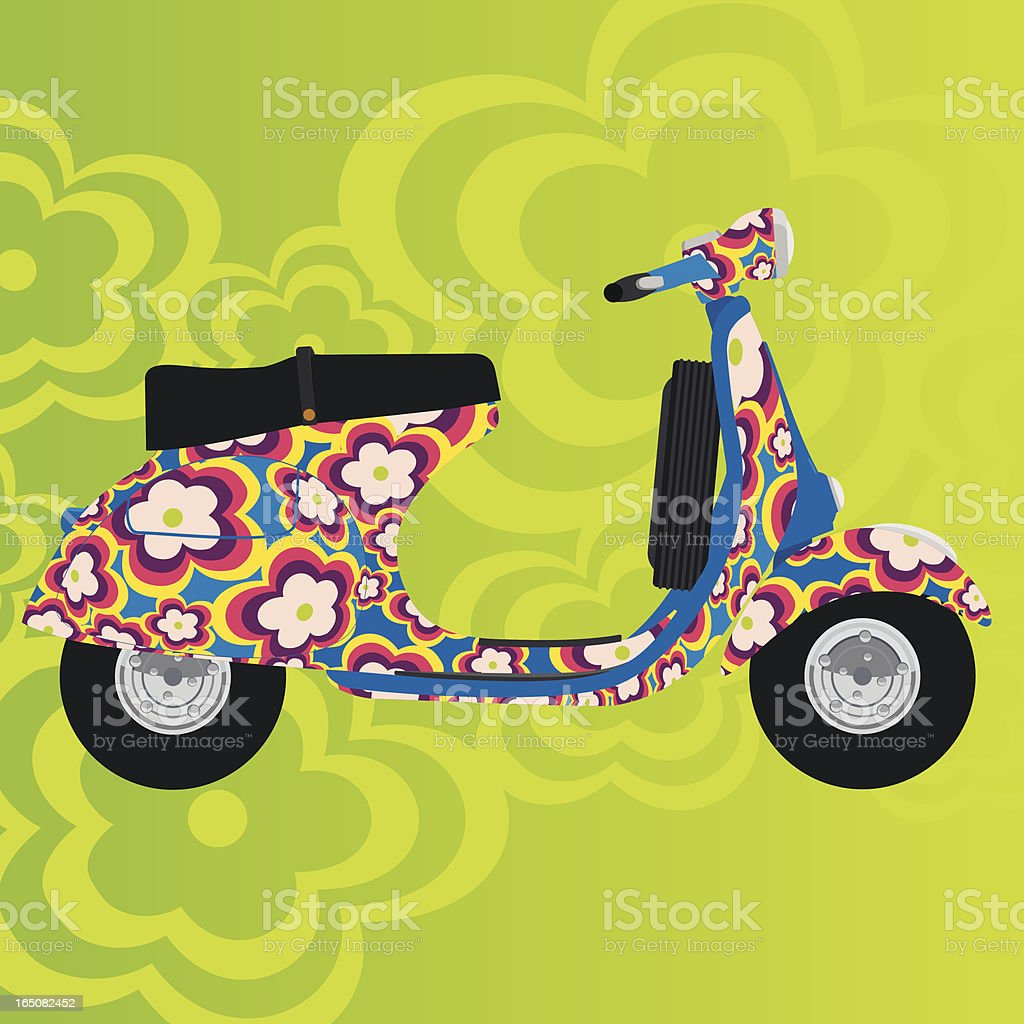 FLOWER POWER SCOOTER royalty-free stock vector art