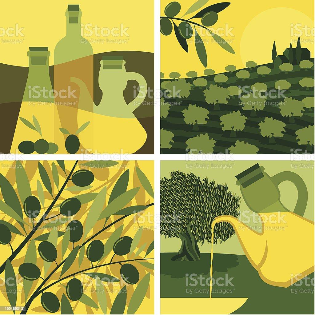 OLIVE OIL SET vector art illustration