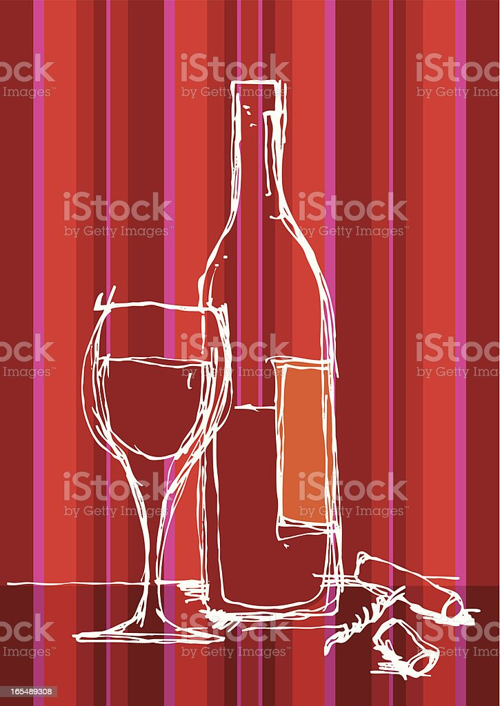 WINE DRAWING royalty-free stock vector art