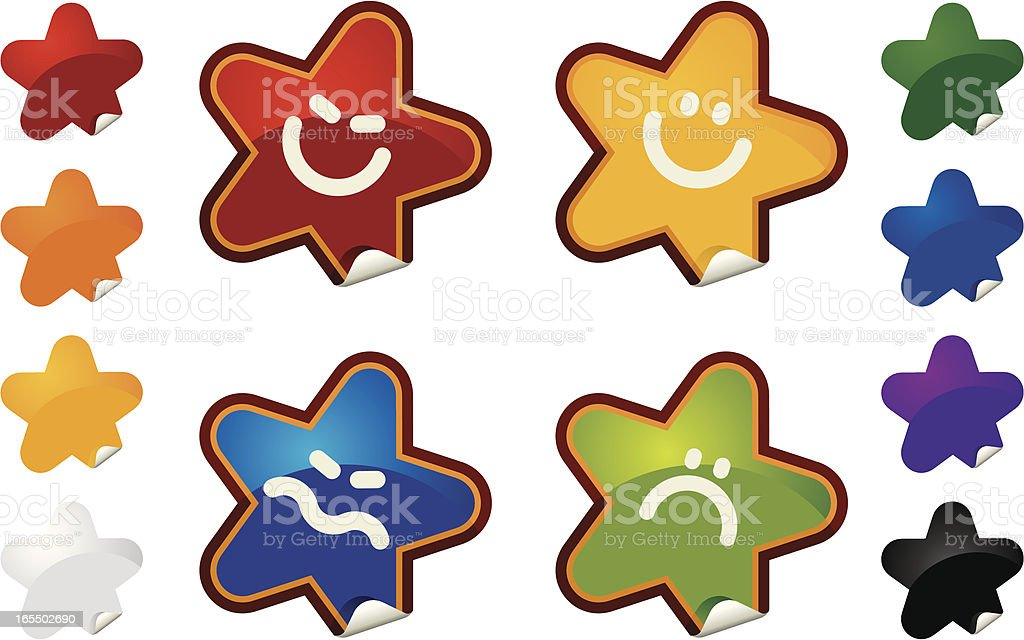 STARS STICKY FACES royalty-free stock vector art