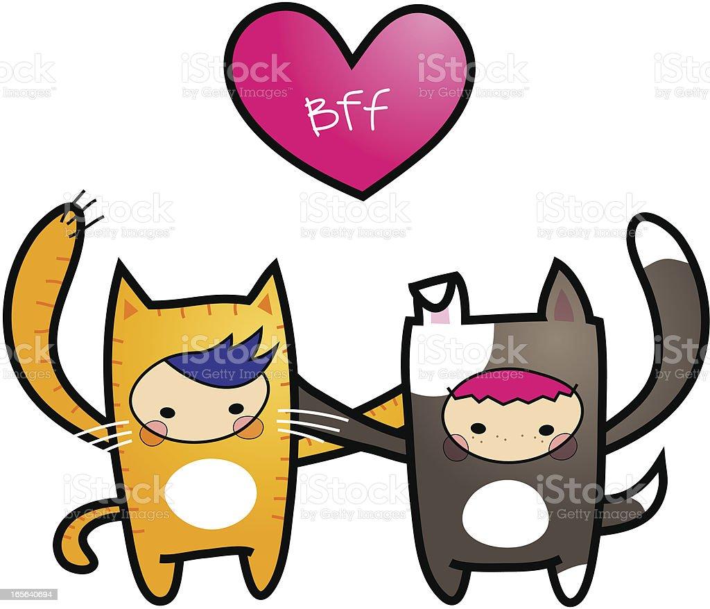 BFF (Best Friends Forever) vector art illustration