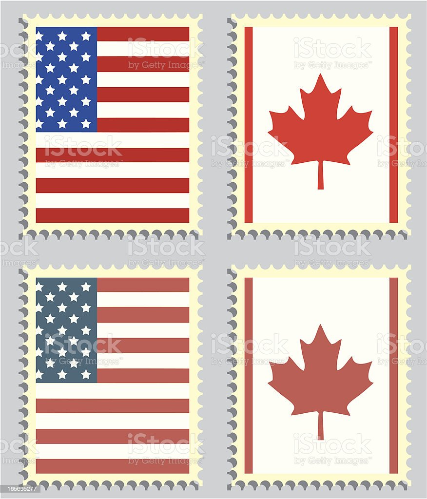 USA & CANADA STAMP FLAGS royalty-free stock vector art