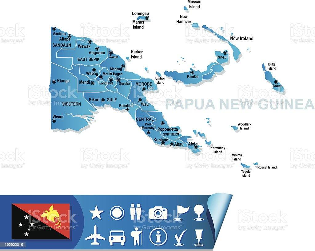 PAPUA NEW GUINEA MAP royalty-free stock vector art