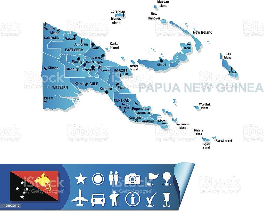 PAPUA NEW GUINEA MAP vector art illustration