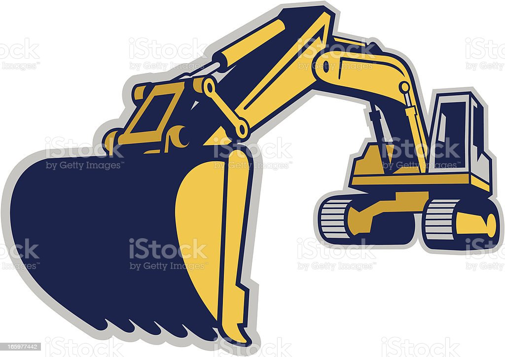 EXCAVATOR EXTENDS ITS BOOM TO GET A LOAD OF DIRT royalty-free stock vector art