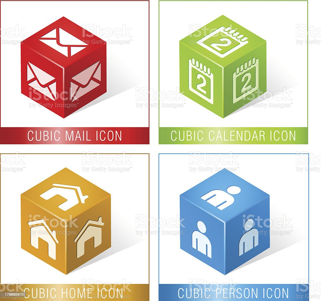 CUBIC MAIL, CALENDAR, HOME AND PERSON ICONS royalty-free stock vector art