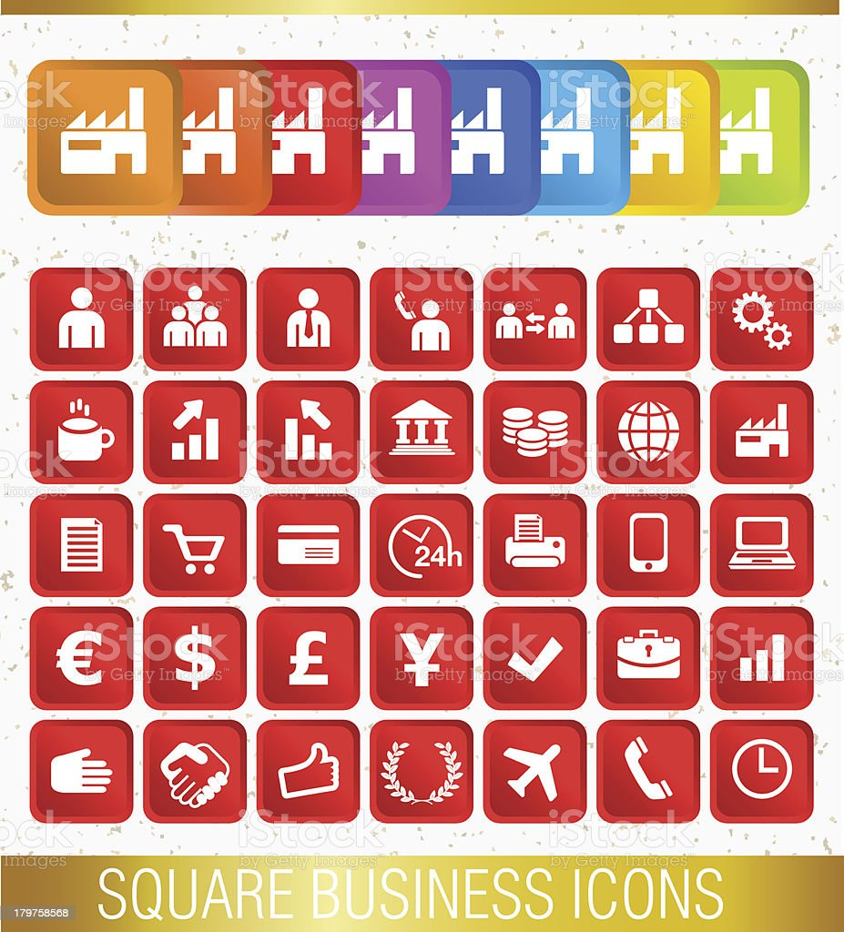 SQUARE BUSINESS ICONS royalty-free stock vector art