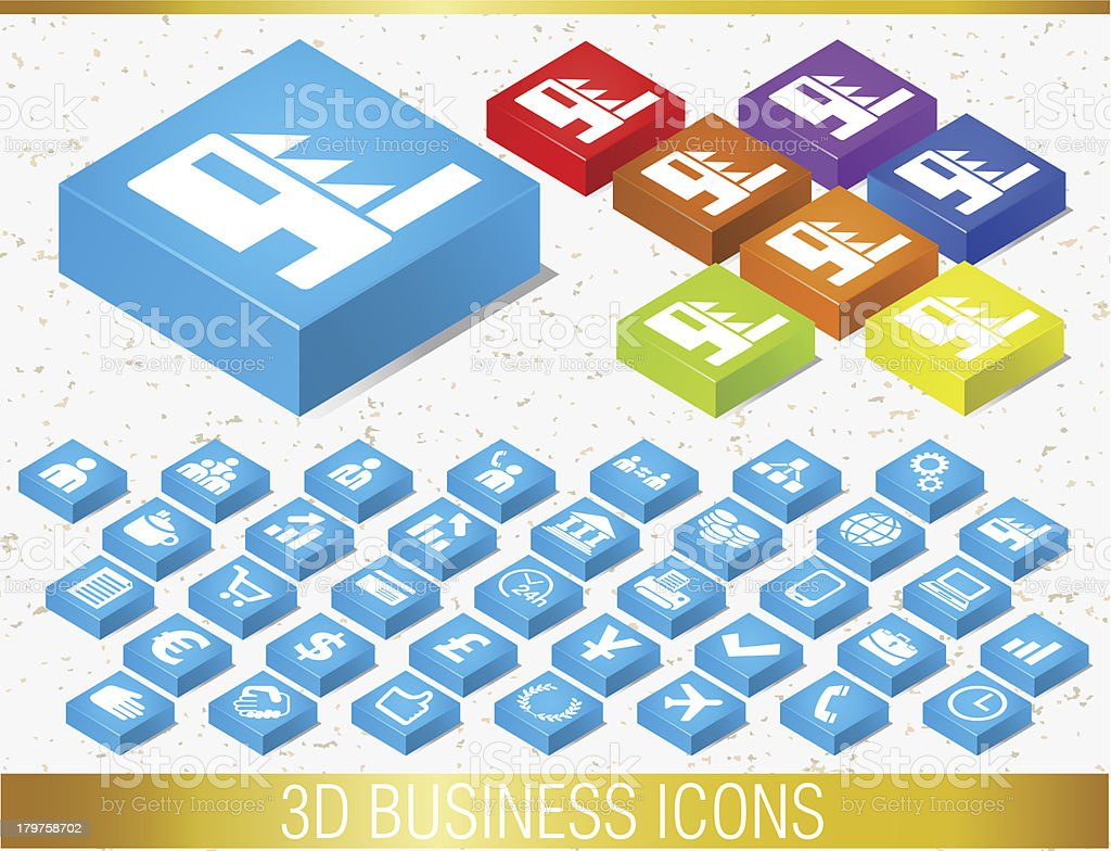 3D BUSINESS ICONS royalty-free stock vector art