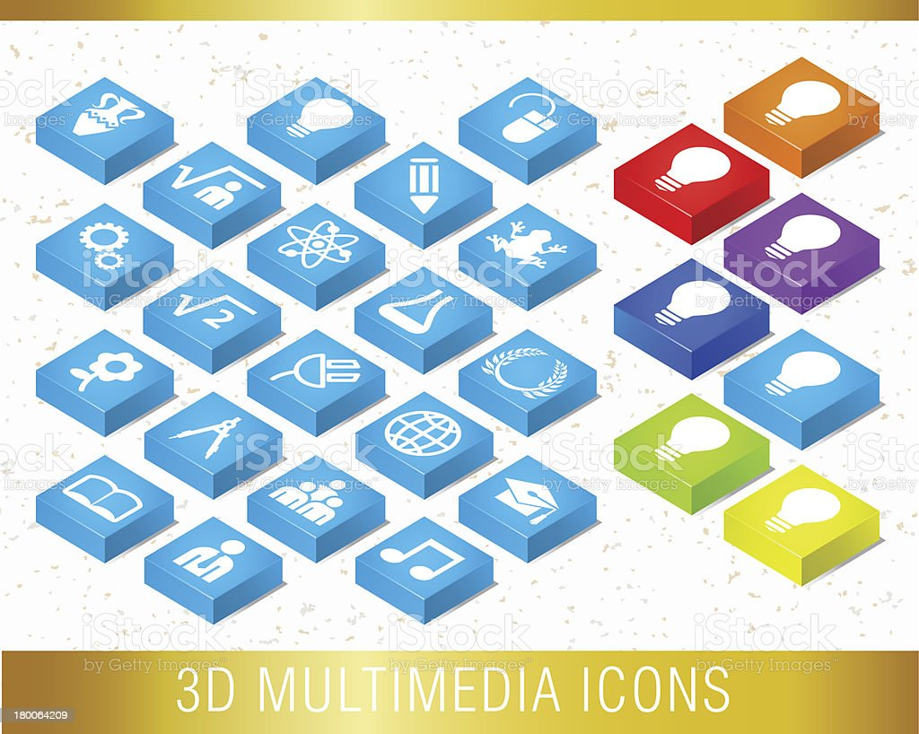 3D EDUCATION ICONS. royalty-free stock vector art