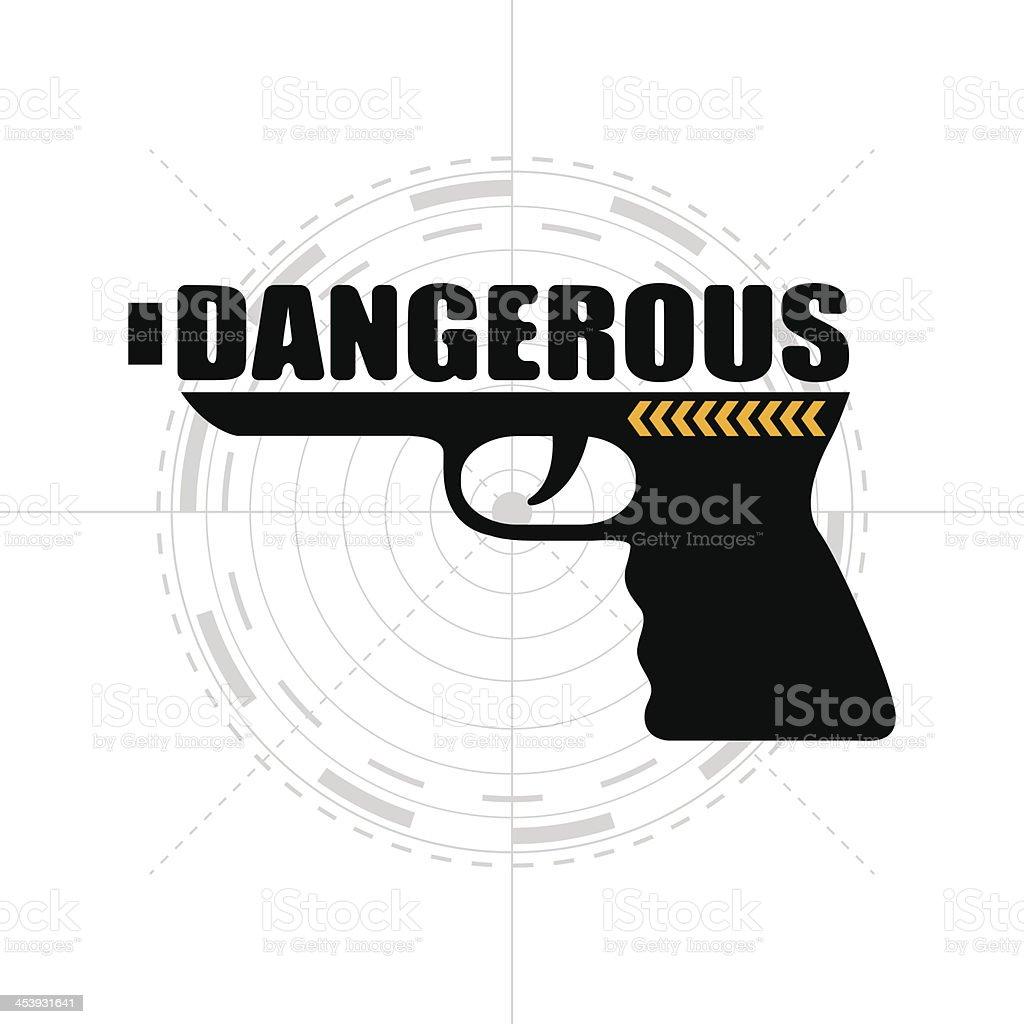 DANGEROUS GUN VECTOR vector art illustration