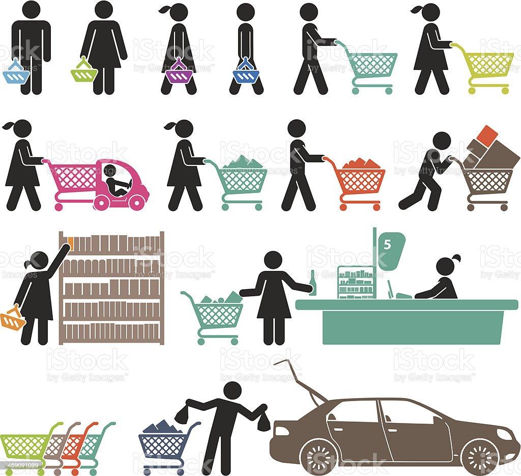 MEN AND WOMEN GO SHOPPING vector art illustration