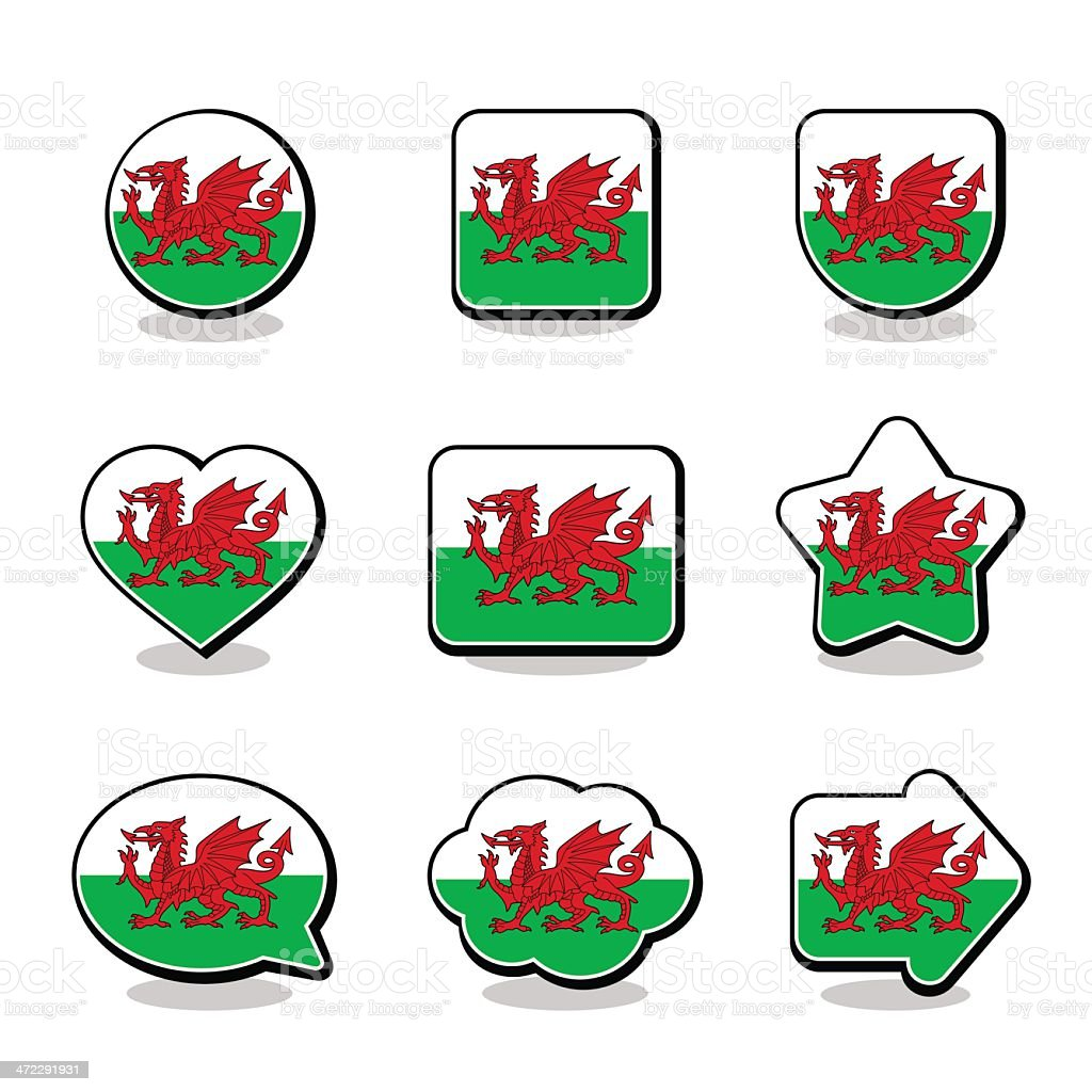 WALES FLAG ICON SET royalty-free stock vector art