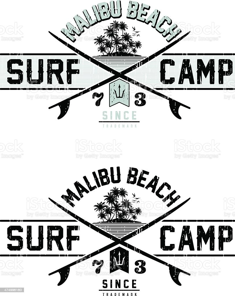 SURF CAMP vector art illustration