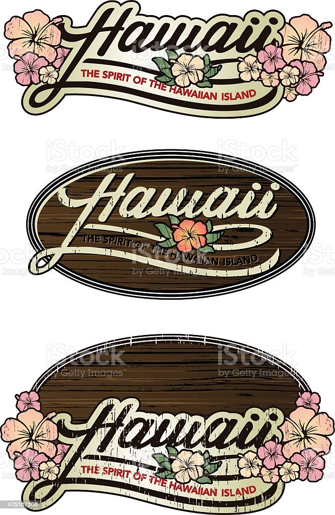 HAWAIIAN EMBLEM vector art illustration
