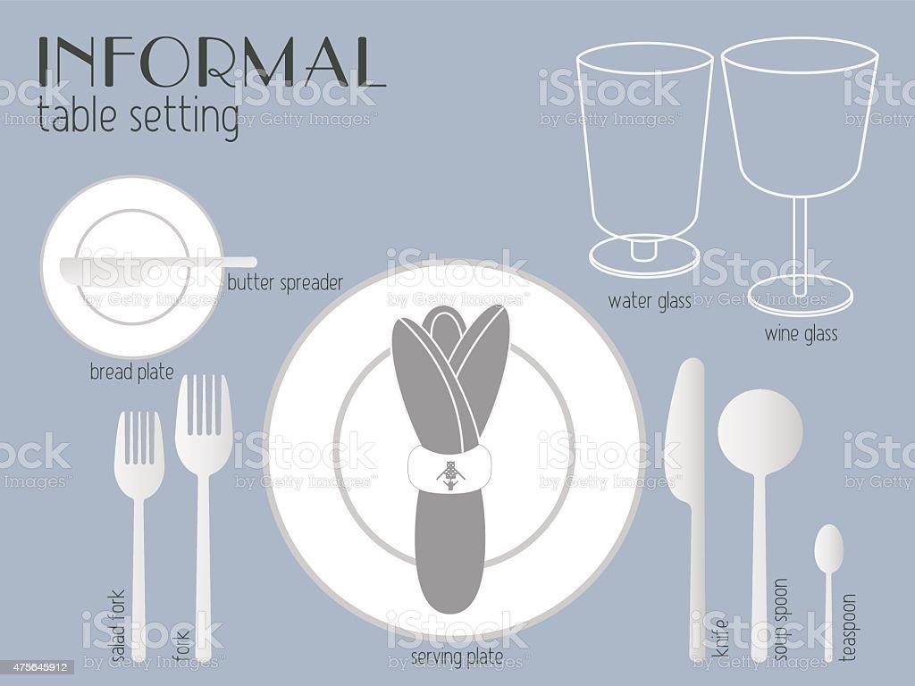 INFORMAL TABLE SETTING vector art illustration