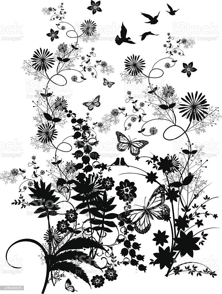 GARDEN FLOWERS royalty-free stock vector art