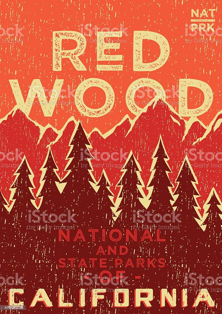 RED WOOD POSTER vector art illustration
