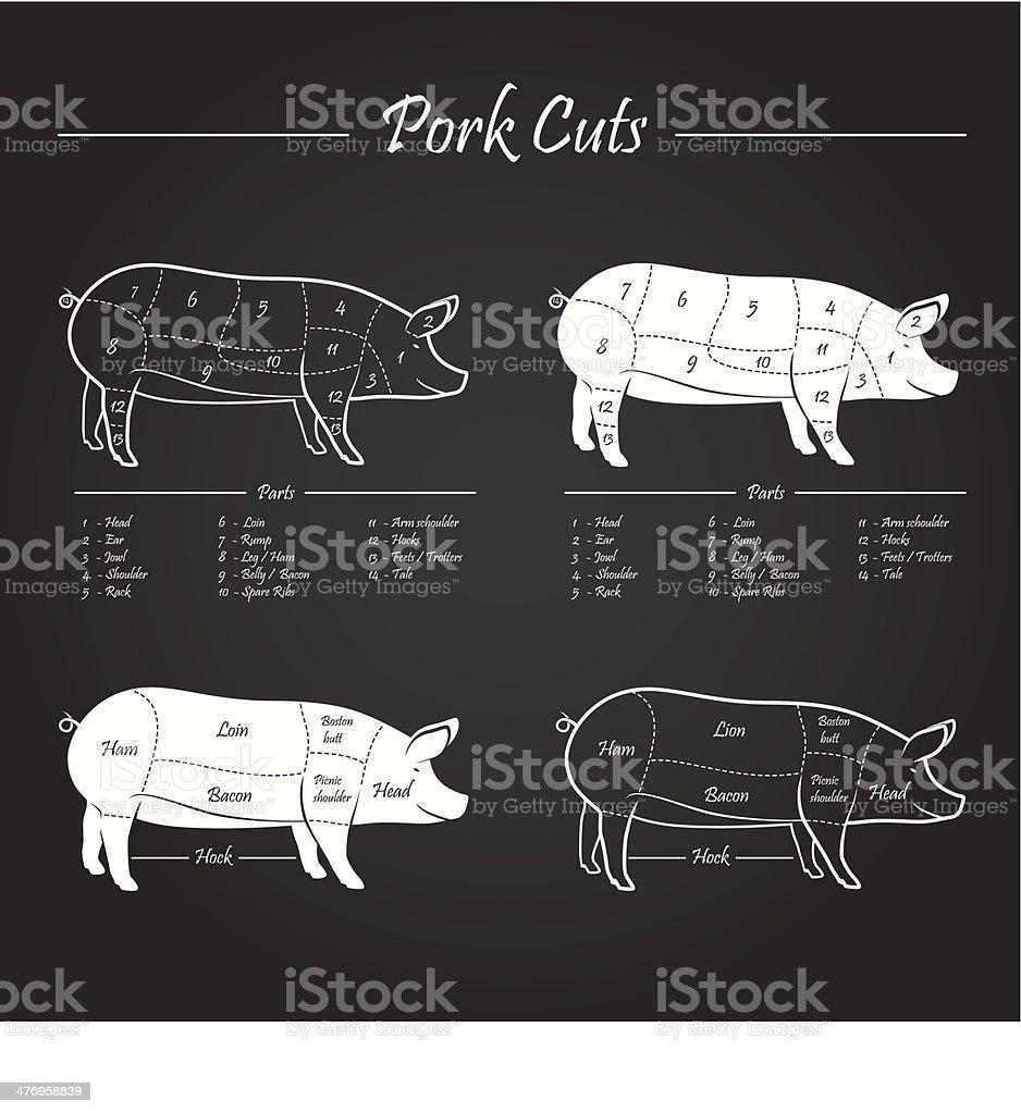 PORK MEAT CUTS SCHEME vector art illustration