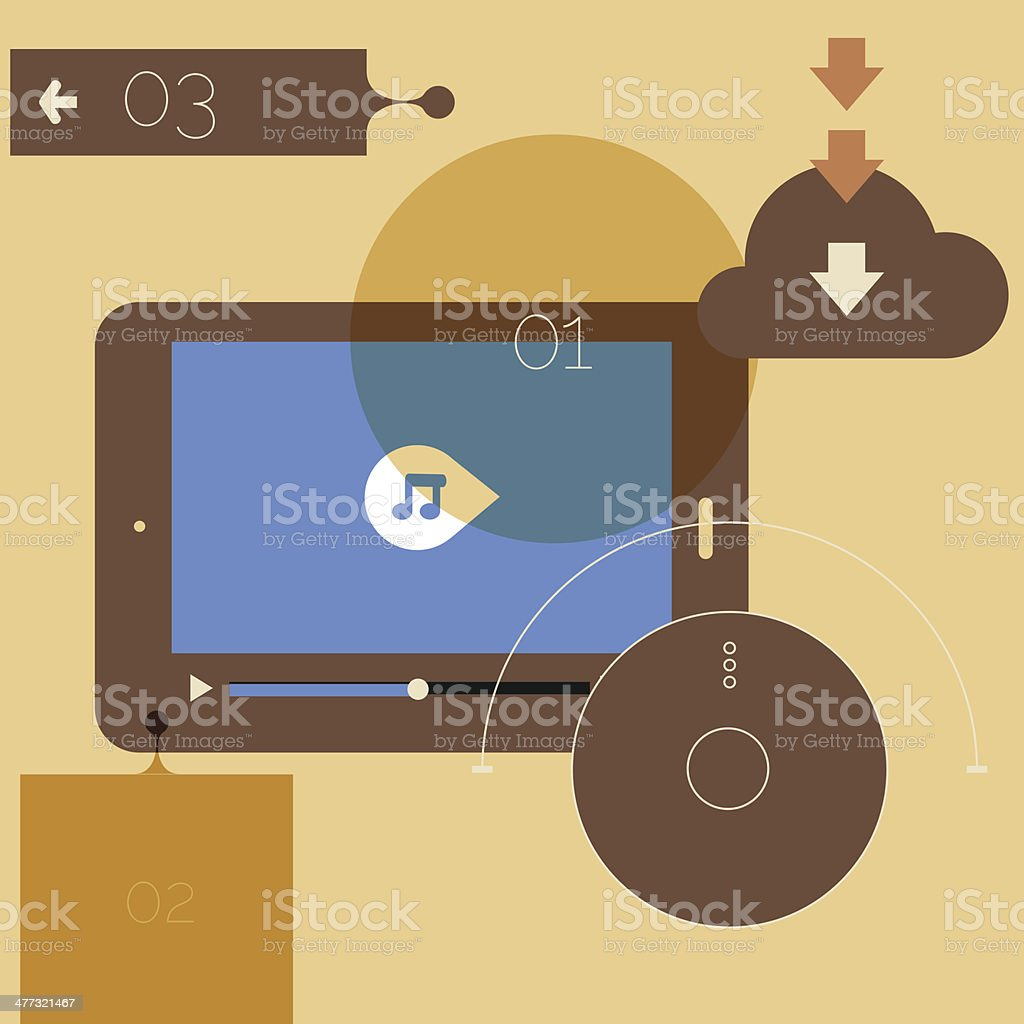 flat-design-abstract-template-with-tablet-pc-and-media-player-interface-template-04_10eps_beige royalty-free stock vector art