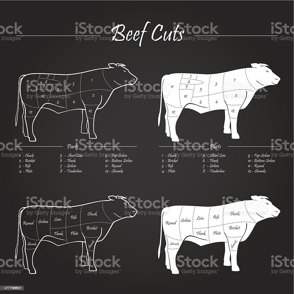 BEEF MEAT CUTS SCHEME vector art illustration