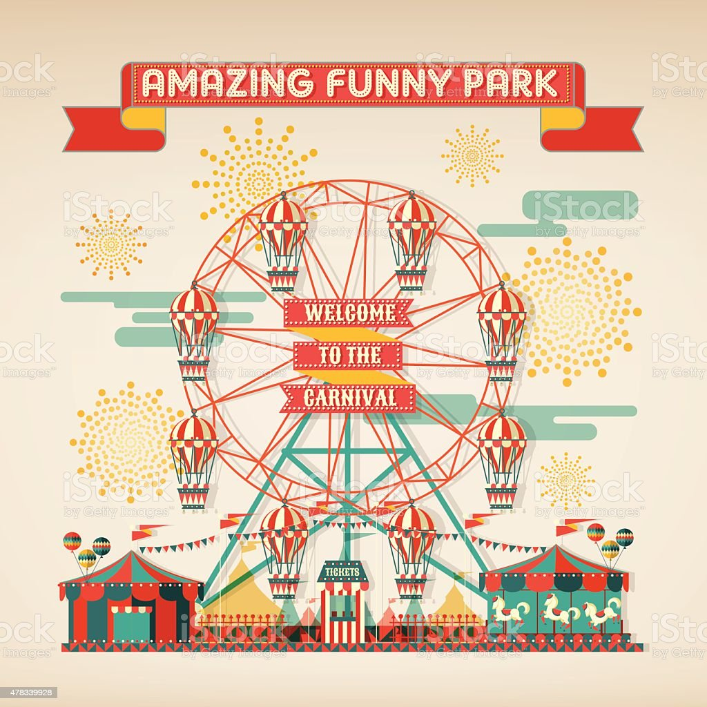 FUNNY PARK CARNIVAL DAY SCENE ELEMENTS vector art illustration