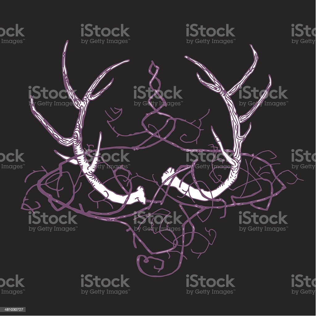 abstract_true_gothic_background_with_horns_of_deer_and_a_crown_of_thorns_black_background royalty-free stock vector art