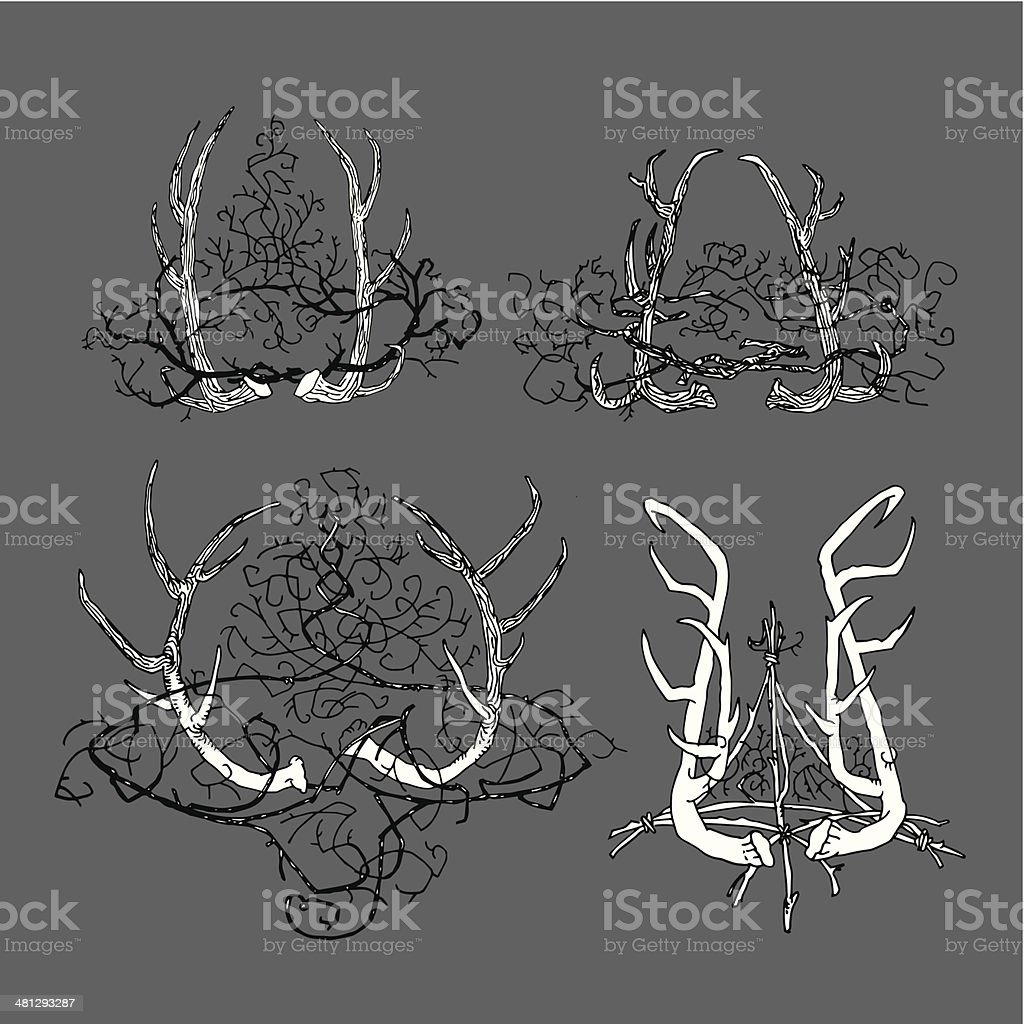 set_abstract_true_gothic_elements_of_design_with_horns_of_deer_and_a_crown_of_thorns vector art illustration