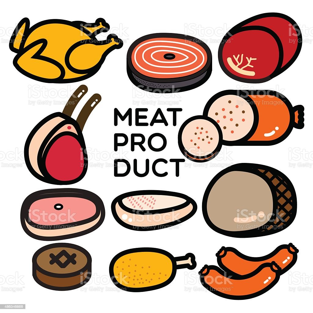 MEAT PRODUCT vector art illustration