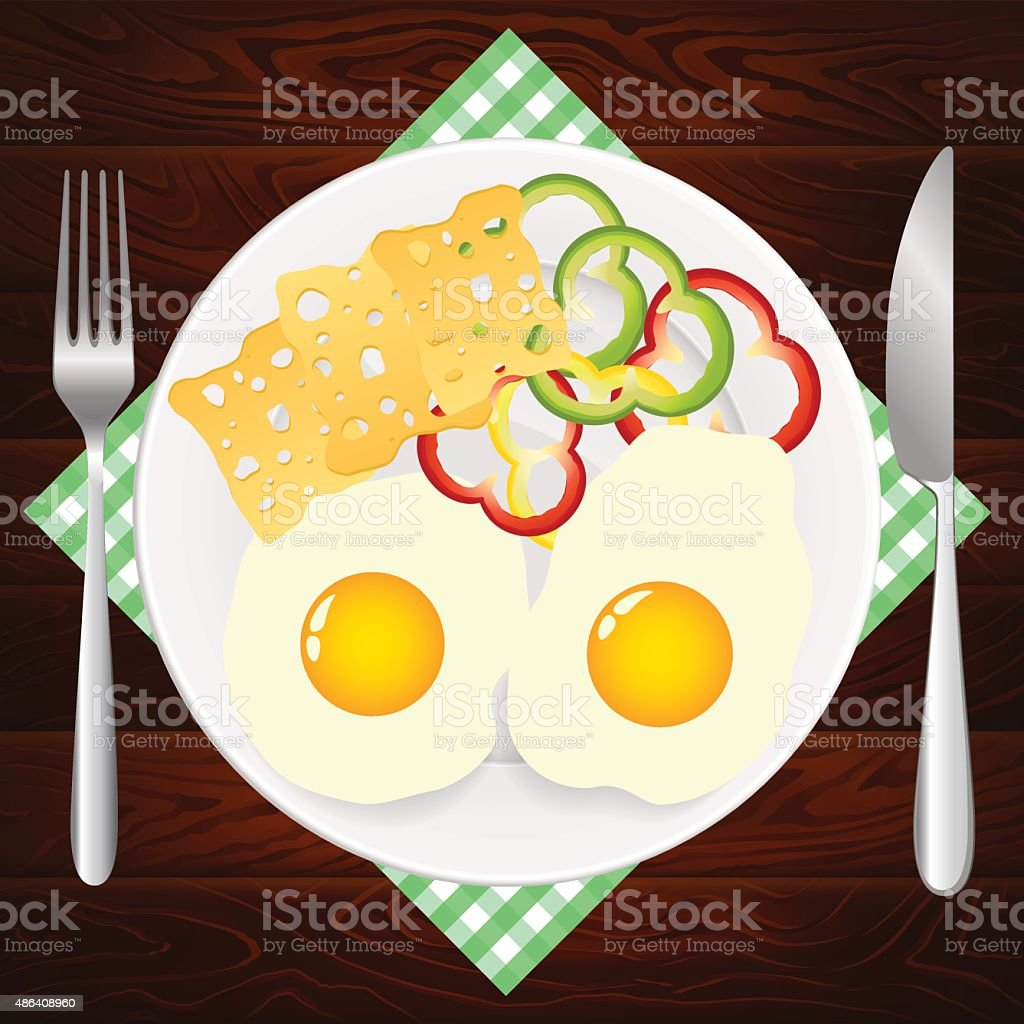 PLATE KNIFE EGGS CHEESE PAPRIKA WOODEN TEXTURE vector art illustration