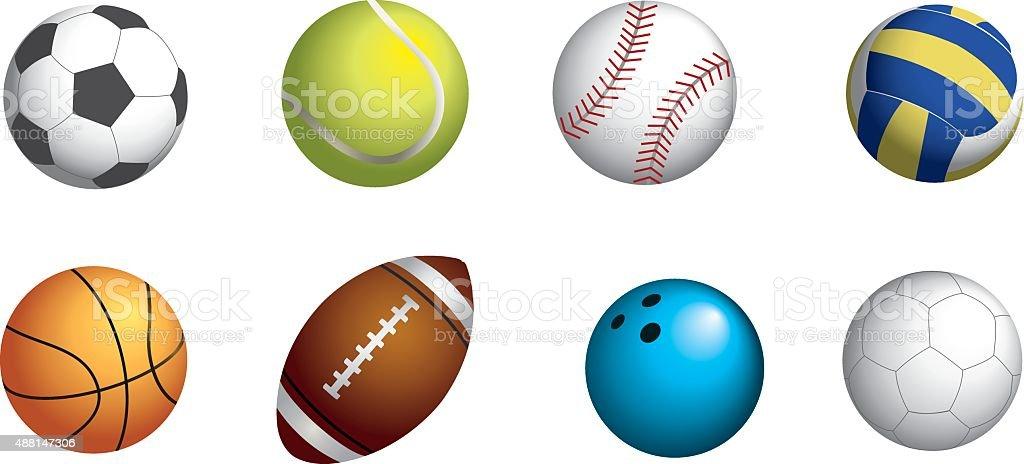 SPORT BALLS SET vector art illustration