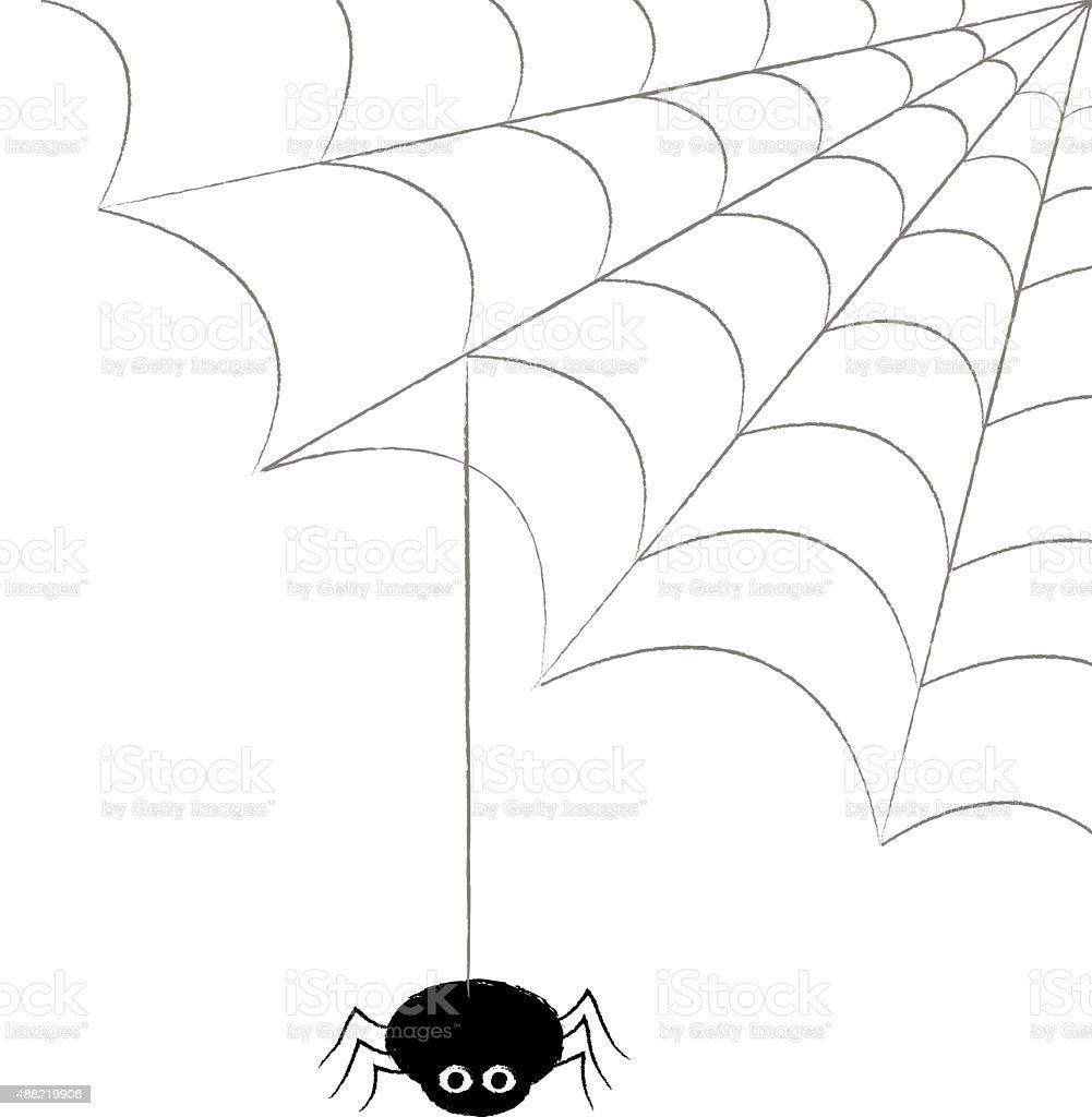 SPIDER AND COBWEB vector art illustration