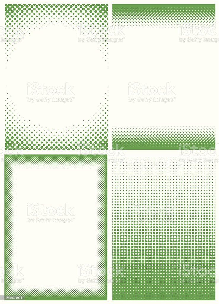 GREEN_HALFTONE_FRAMES vector art illustration