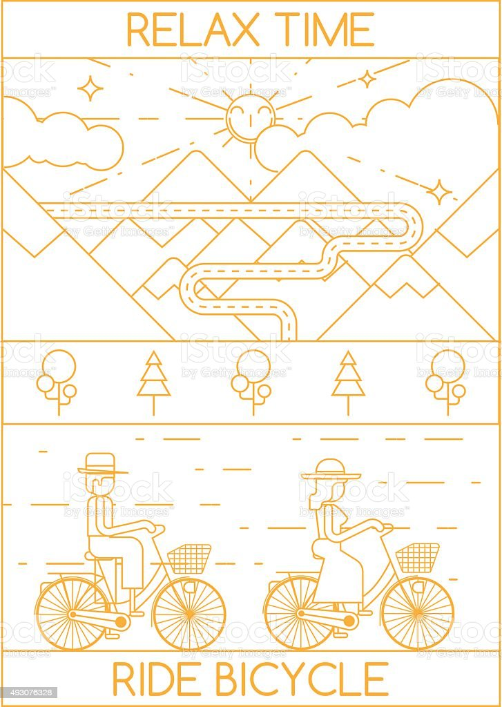 RELAX TIME RIDE BICYCLE vector art illustration