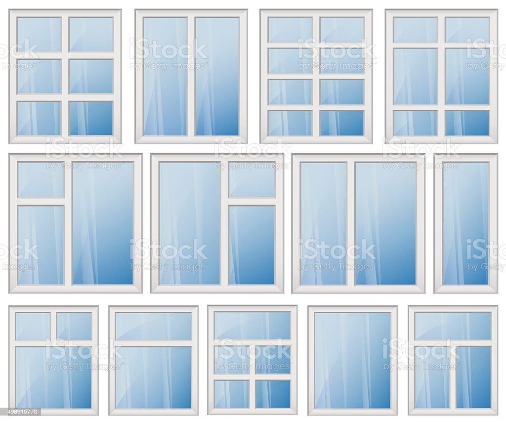 WINDOW FRAME DESIGN SET BLUE GLASS vector art illustration