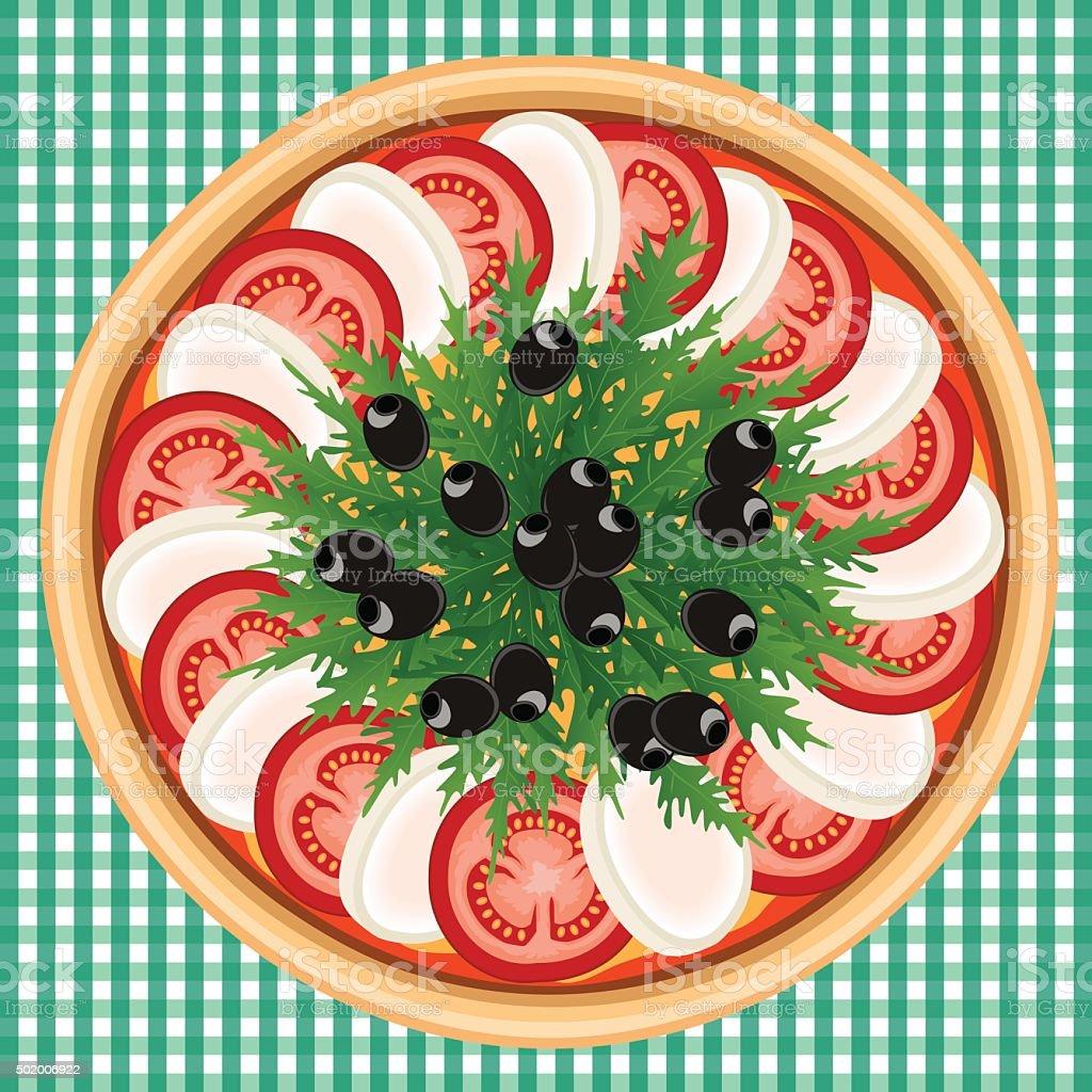 PIZZA CAPRESE ARUGULA OLIVE vector art illustration