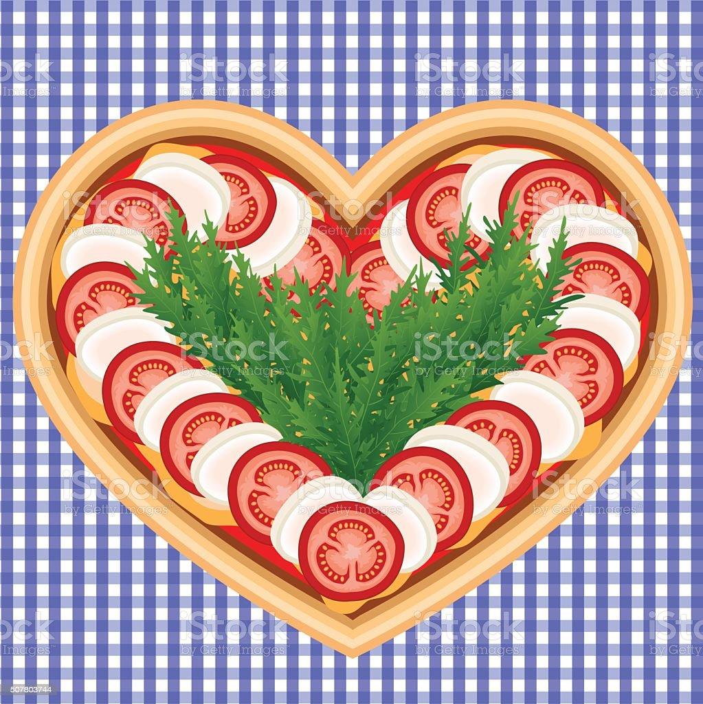 PIZZA HEART CAPRESE vector art illustration