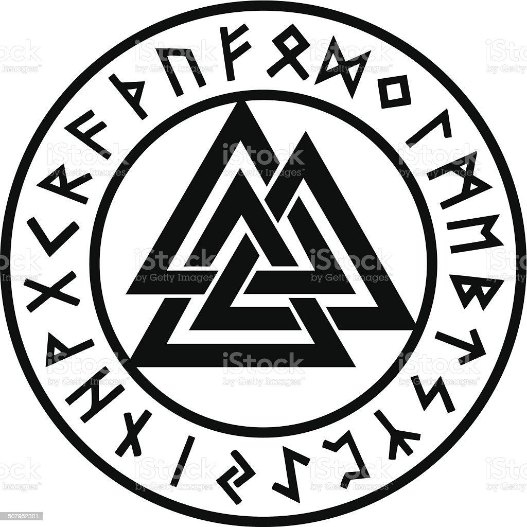 odins valknut rune circle viking symbole stock vecteur. Black Bedroom Furniture Sets. Home Design Ideas