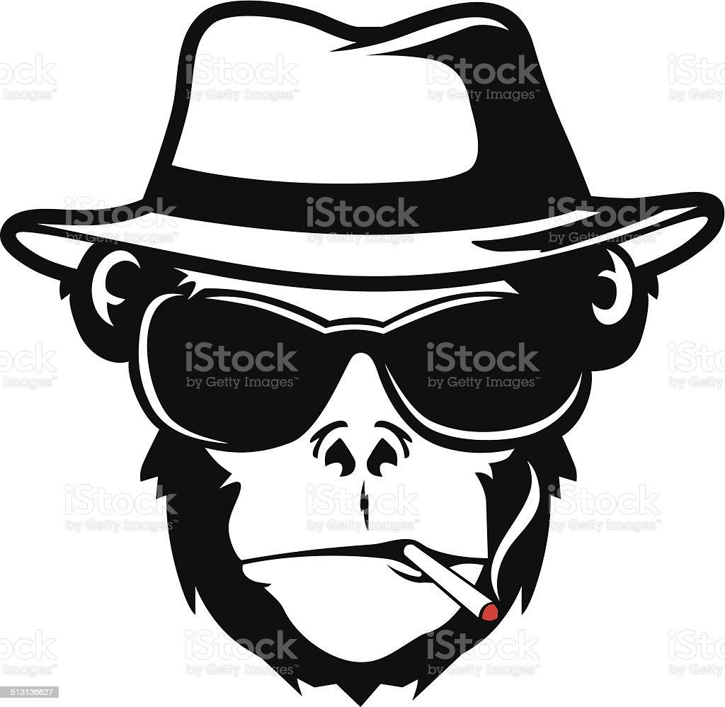 MONKEY HEAD SMOKE vector art illustration